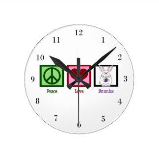 Peace Love Bunnies Round Clock