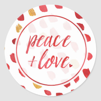 Peace & Love by The Spotted Olive Holiday Classic Round Sticker