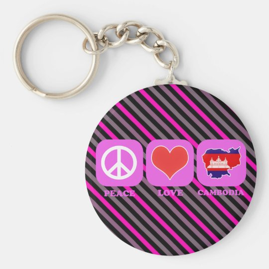Peace Love Cambodia Basic Round Button Key Ring