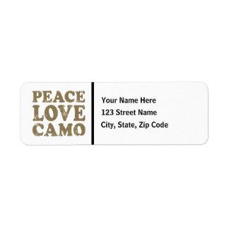Peace Love Camo Return Address Label