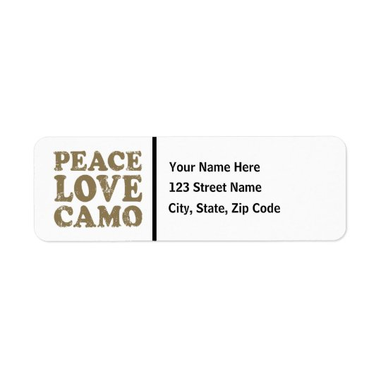 Peace Love Camo Return Address Label