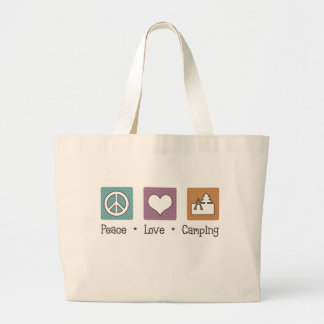Peace Love Camping Large Tote Bag