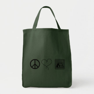 Peace. Love. Camping. Grocery Tote Bag