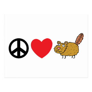 Peace  Love Canadian Beaver Postcard