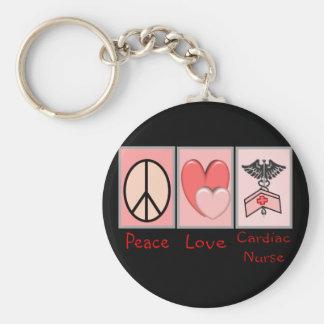 Peace Love Cardiac Nurse Key Chains
