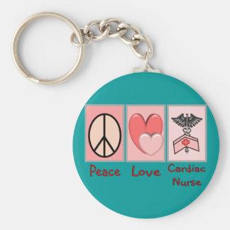 Peace Love Cardiac Nurse Key Chain