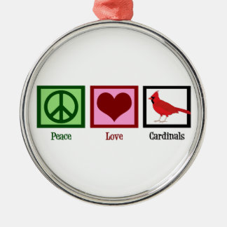 Peace Love Cardinals Christmas Ornament