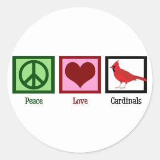 Peace Love Cardinals Classic Round Sticker