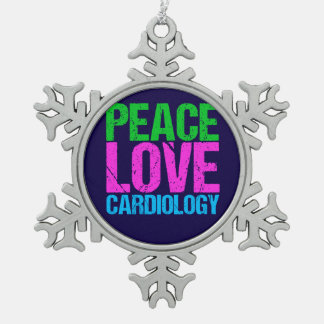 Peace Love Cardiology Pewter Snowflake Decoration