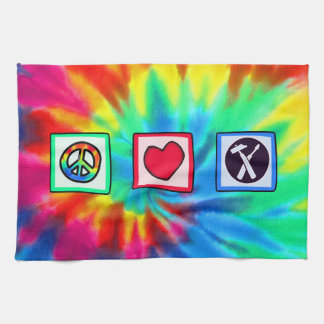 Peace, Love, Carpenters Tea Towel