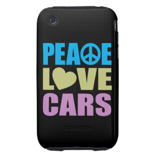 Peace Love Cars iPhone 3 Tough Cases