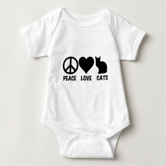 Peace Love Cats Baby Bodysuit