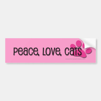 peace, love, cats bumper sticker