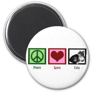 Peace Love Cats Cute 6 Cm Round Magnet