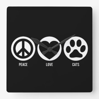 Peace Love Cats Square Wall Clock