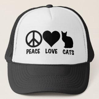 Peace Love Cats Trucker Hat