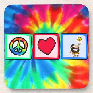 Peace, Love, Cavemen Drink Coaster