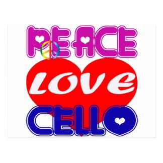 Peace Love cello Post Cards