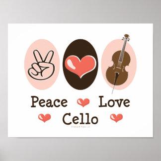 Peace Love Cello Poster