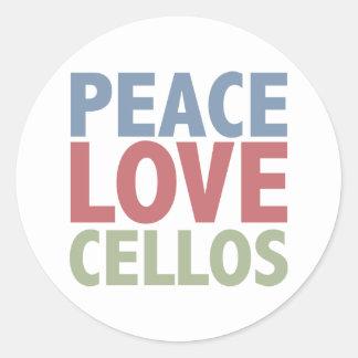 Peace Love Cellos Round Sticker