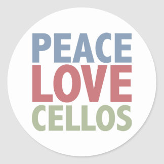 Peace Love Cellos Round Stickers