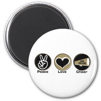 Peace Love Cheer Black/Gold 6 Cm Round Magnet
