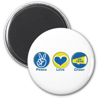 Peace Love Cheer Blue/Yellow 6 Cm Round Magnet