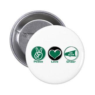 Peace Love Cheer Green 6 Cm Round Badge