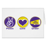 Peace Love Cheer Purple/Yellow Greeting Card