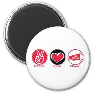 Peace Love Cheer Red 6 Cm Round Magnet