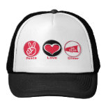 Peace Love Cheer Red Trucker Hat