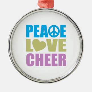 Peace Love Cheer Silver-Colored Round Decoration