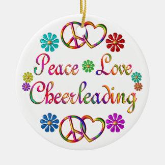 PEACE LOVE CHEERLEADING CHRISTMAS TREE ORNAMENT