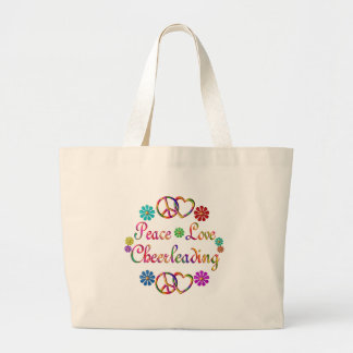 PEACE LOVE CHEERLEADING LARGE TOTE BAG