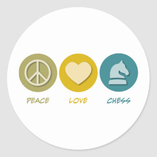Peace Love Chess Round Sticker