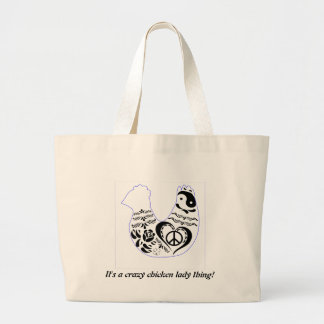 Peace Love Chicken Large Tote Bag