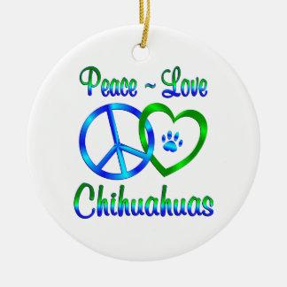 Peace Love Chihuahuas Christmas Ornament