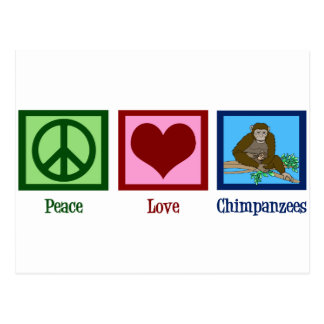 Peace Love Chimpanzees Postcard