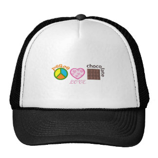 PEACE LOVE CHOCOLATE MESH HAT
