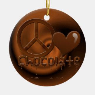 Peace Love Chocolate Christmas Ornament