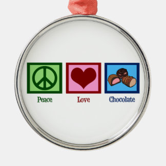 Peace Love Chocolate Christmas Ornament