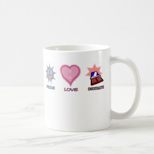 Peace Love & Chocolate Coffee Mug
