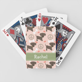 Peace Love Chocolate Lab Bicycle Playing Cards