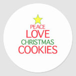 Peace Love Christmas Cookies Round Stickers