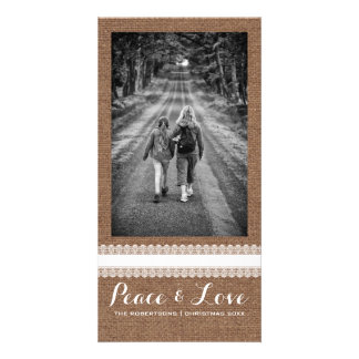Peace Love Christmas Full Photo Burlap White Lace Customized Photo Card
