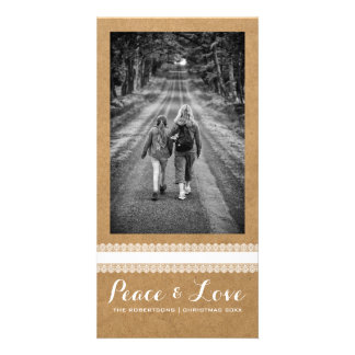 Peace Love Christmas Full Photo Paper White Lace Customised Photo Card