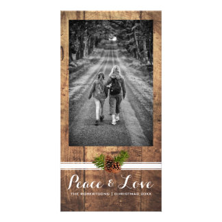 Peace Love Christmas Full Photo Wood Pinecones Card
