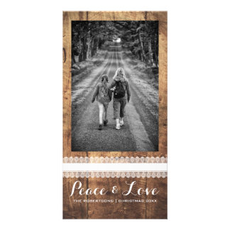 Peace Love Christmas Full Photo Wood White Lace Personalized Photo Card
