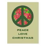 peace love christmas greeting postcard