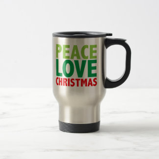Peace Love Christmas Holiday Design Stainless Steel Travel Mug